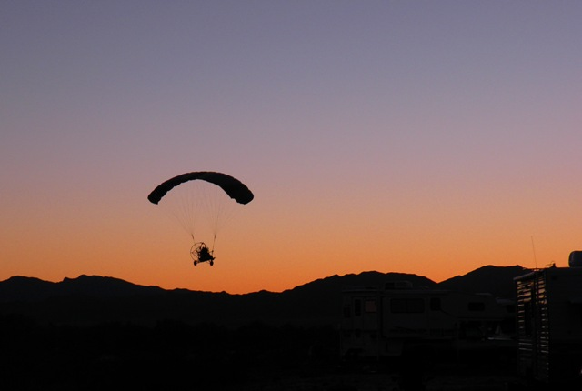Quarzsite Powered Hanglider at Sunset