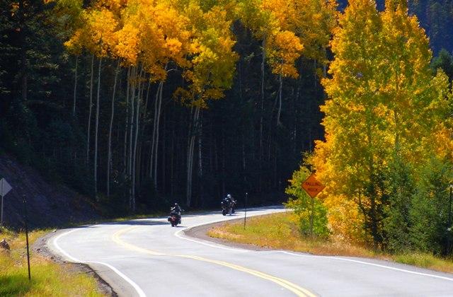 A pair of Motorcycles Climbing Cumbres Pass in Colorado