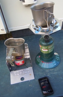 Motorcycle camping stove race