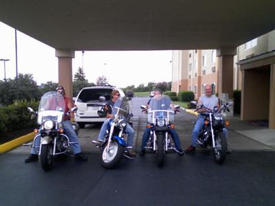 Dave, Wayne, Dan, and Tom ready to conquer the Dragon - Fairfield Inn Alcoa, TN