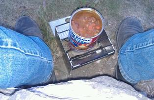 cooking in wind with a sterno stove