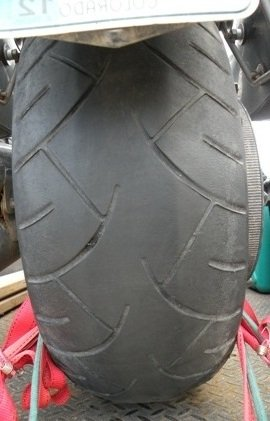The other side of the failed Metzler Motorcycle Tire