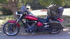 Yamaha Raider packed for the road